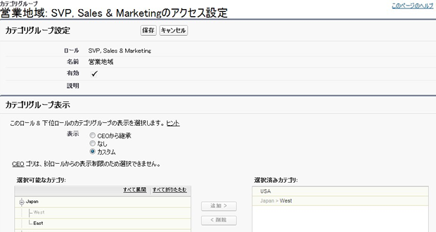 ロール データカテゴリ SVP, Sales   Marketing ~ Salesforce - Developer Edition