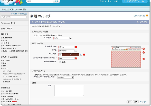 新規 Web タブ ~ Salesforce - Developer Edition_1