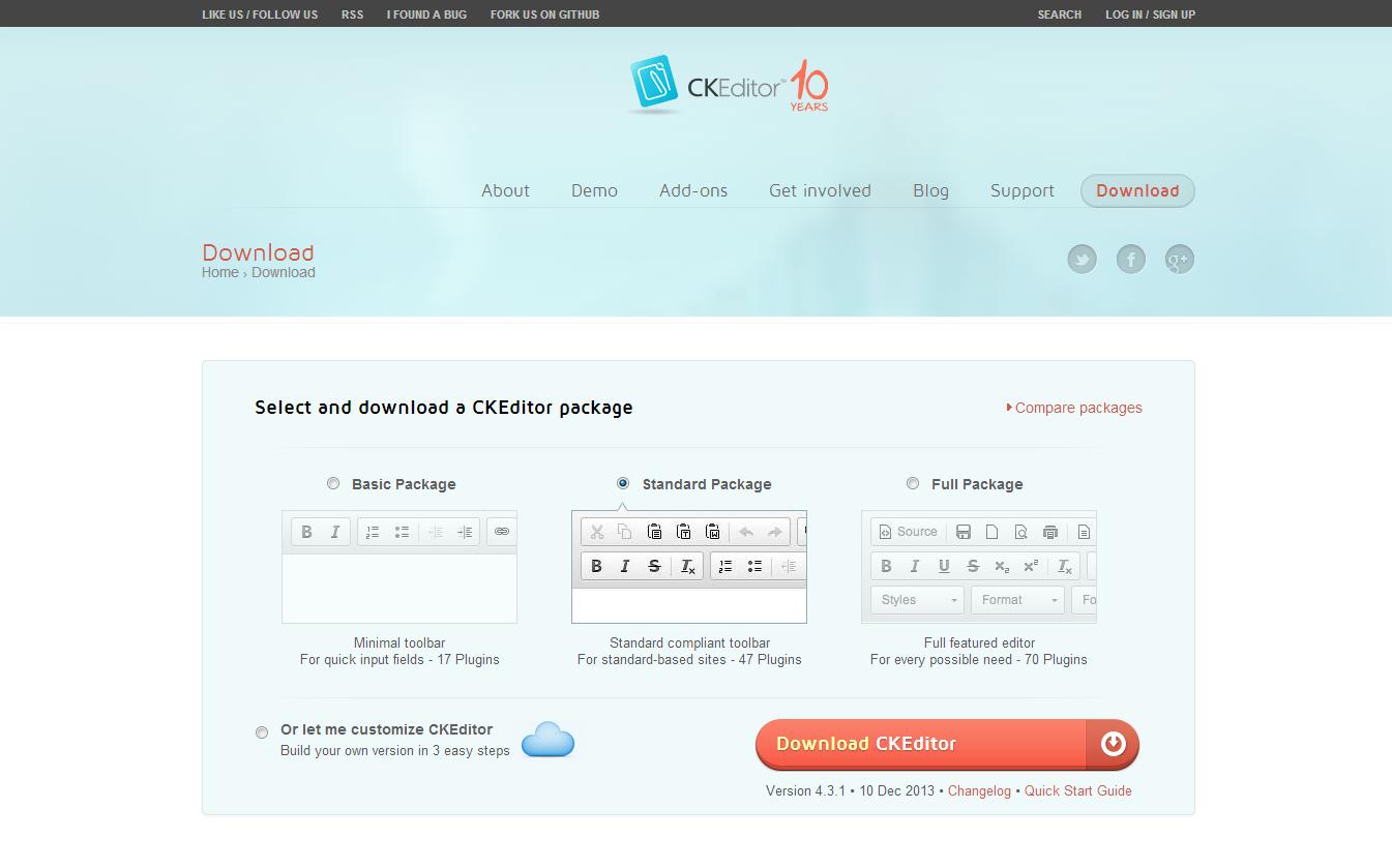 CKEditorダウンロードページ